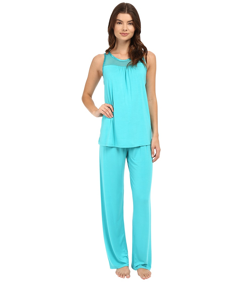 Midnight by Carole Hochman - Pajama with Geo Mesh Lace (Turquoise) Women's Pajama Sets