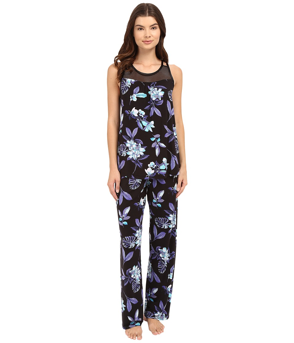Midnight by Carole Hochman - Pajama with Geo Mesh Lace (Night Floral) Women's Pajama Sets