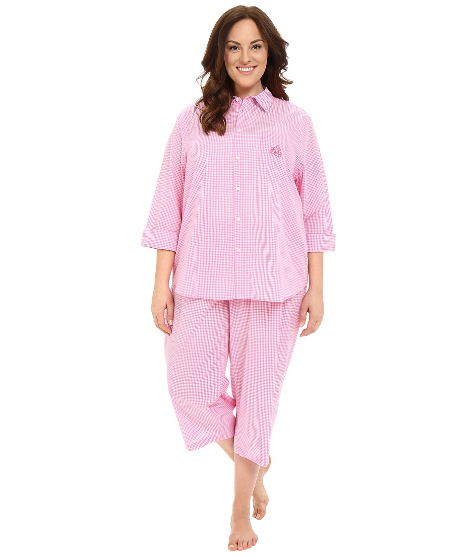LAUREN Ralph Lauren - Plus Size Cotton Lawn Capri PJ (Gingham Pink/White) Women's Pajama Sets