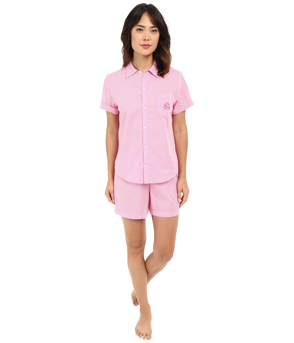 LAUREN Ralph Lauren - Cotton Lawn Boxer PJ Set (Gingham Pink/White) Women's Pajama Sets