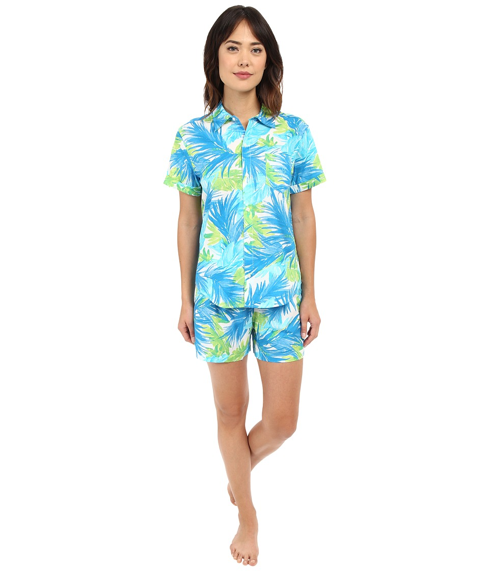 LAUREN Ralph Lauren - Cotton Lawn Boxer PJ Set (Palm Turquoise/Navy/Green) Women's Pajama Sets