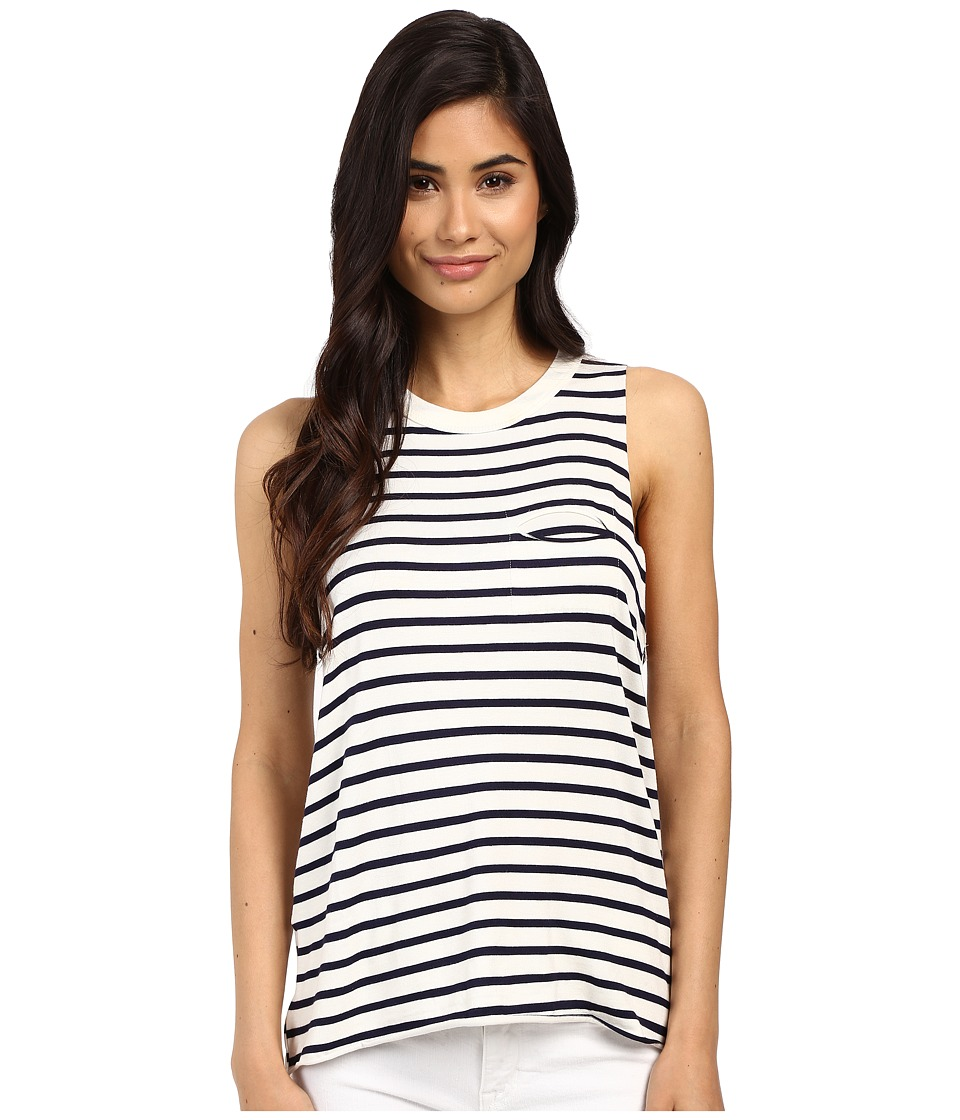 Project Social T - Beatrice Pocket Stripe Tank Top (Navy/White) Women's Sleeveless