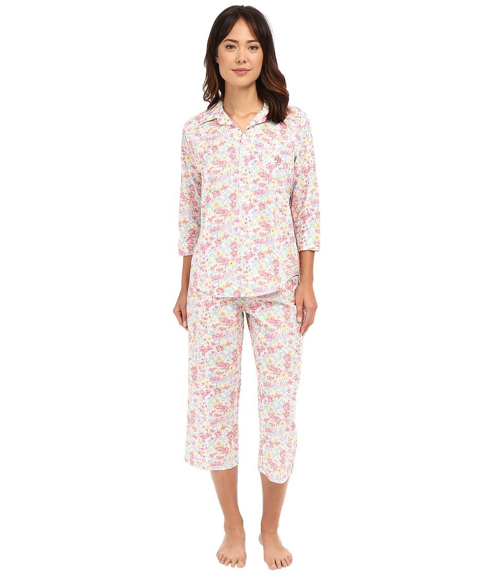 LAUREN Ralph Lauren - Cotton Lawn Capri PJ (Floral Multi) Women's Pajama Sets