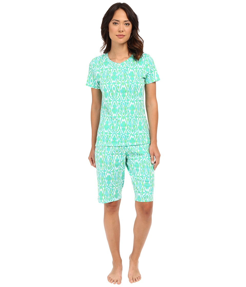 LAUREN Ralph Lauren - Bermuda PJ Set (Ikat Blue/Green) Women's Pajama Sets