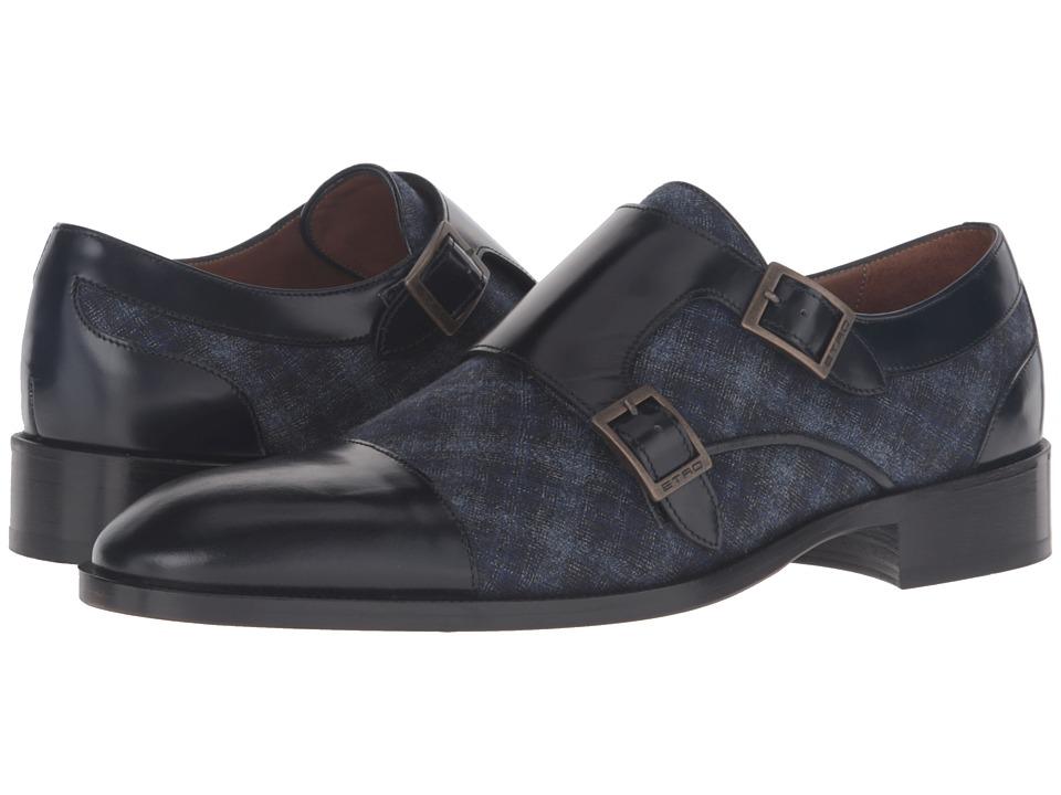 Etro - Cocooning Double Monk Strap (Blue Multi/Black) Men's Monkstrap Shoes