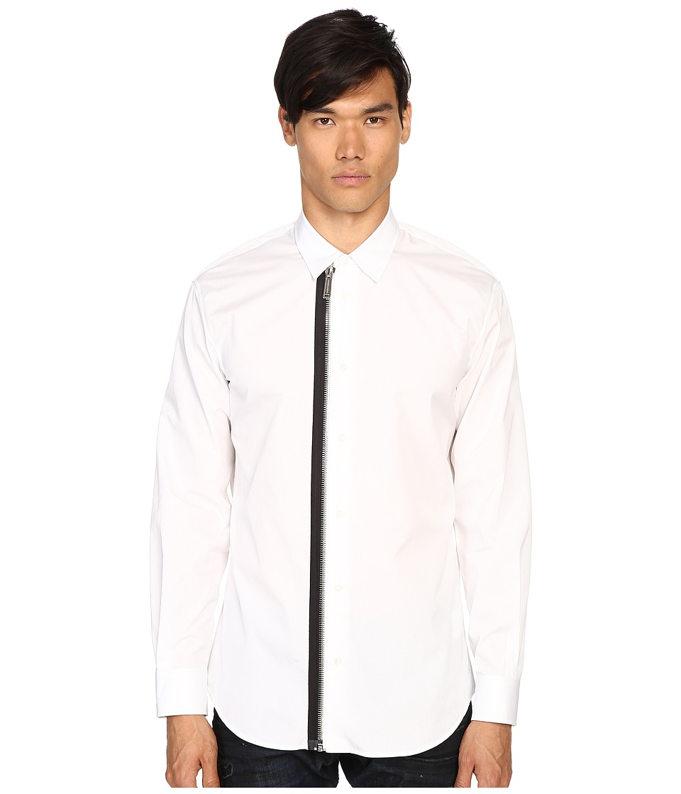 DSQUARED2 - Relax Dan Zip Shirt (White) Men's Clothing