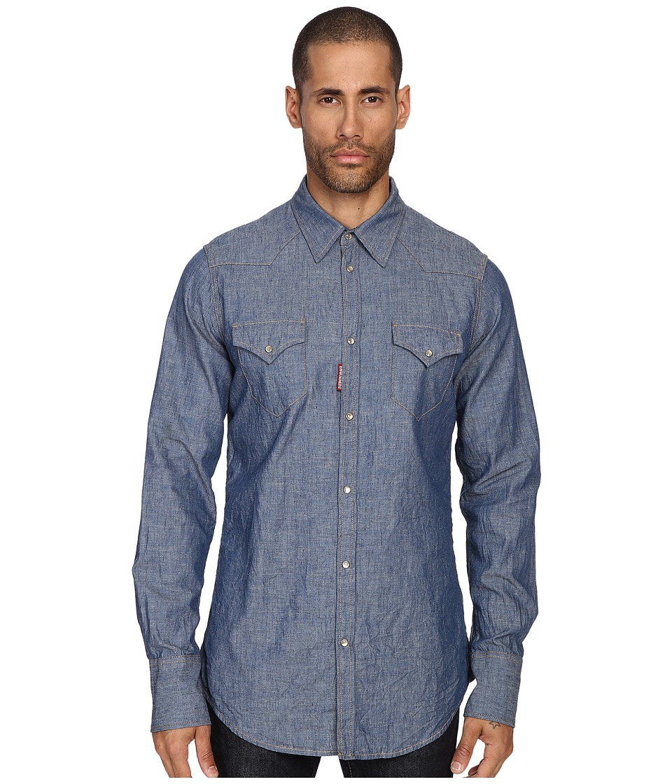 DSQUARED2 - Denim Western Shirt (Blue) Men's Clothing