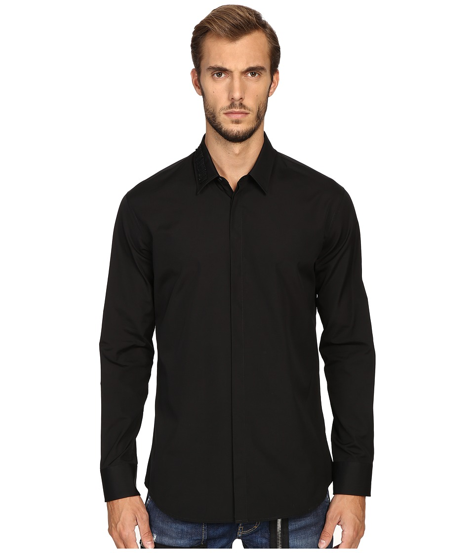 DSQUARED2 - Relax Dan Safety Pin Poplin Shirt (Black) Men's Clothing