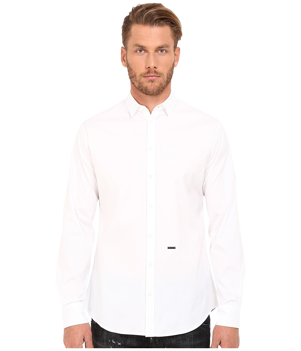 DSQUARED2 - Stretch Poplin Button Up Shirt (White) Men's Long Sleeve Button Up