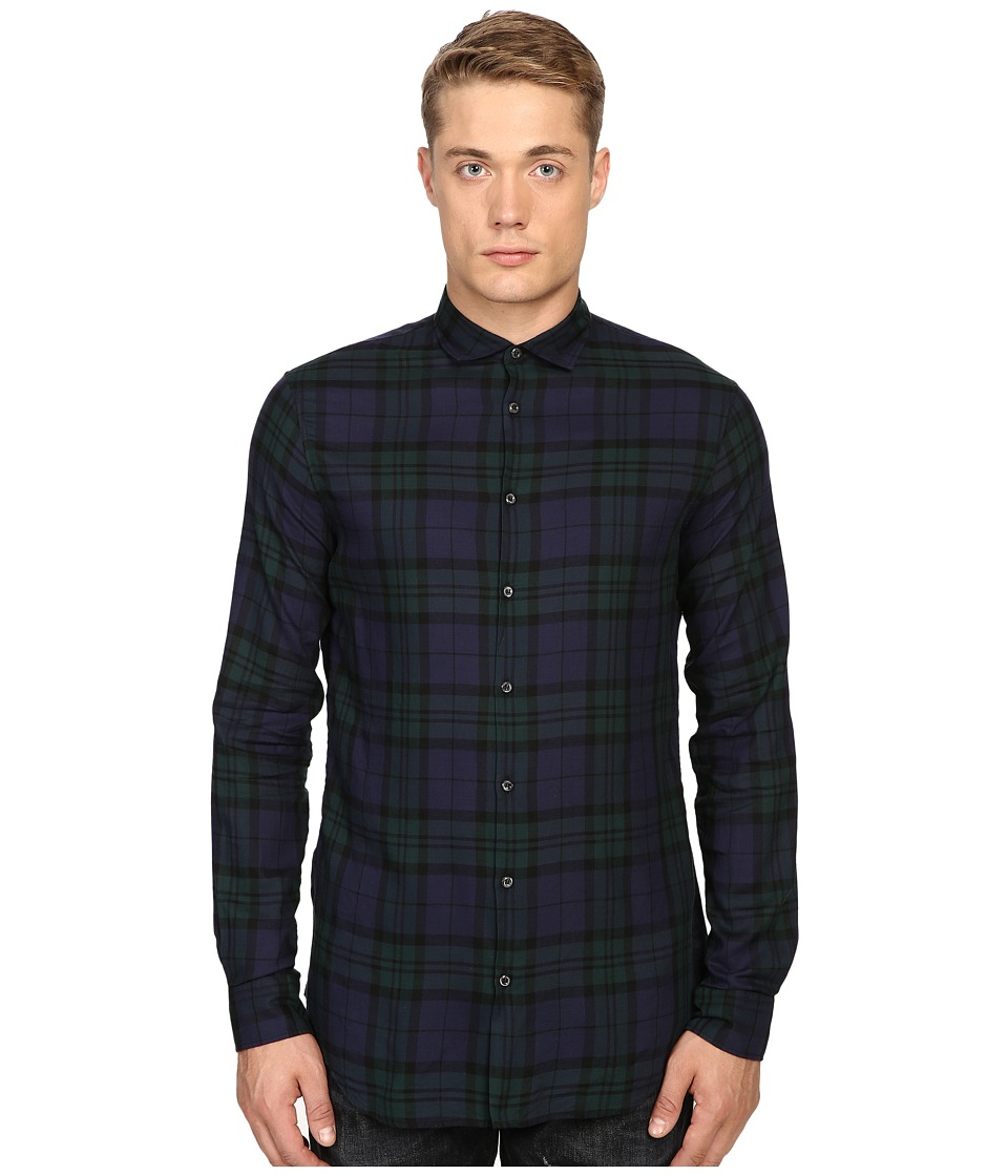DSQUARED2 - Black Watch Woven Shirt (Black/Green) Men's Clothing