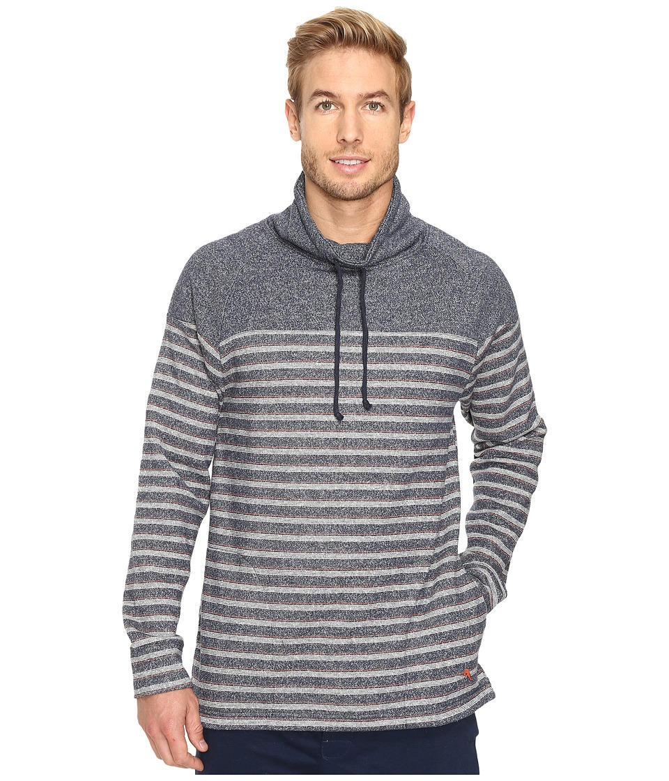 Tommy Bahama - Brush Back French Terry Funnel Neck Pullover (Sandy Stripe Blue) Men's Clothing