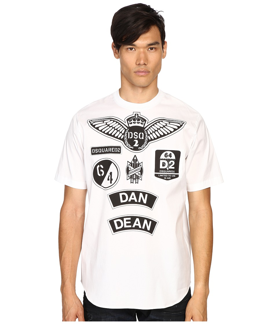 DSQUARED2 - Military Patch Popeline T-Shirt (White) Men's T Shirt