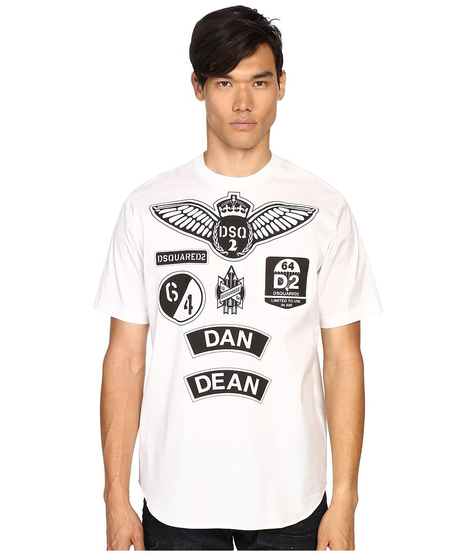 DSQUARED2 - Military Patch Popeline T-Shirt (White) Men's T Shirt