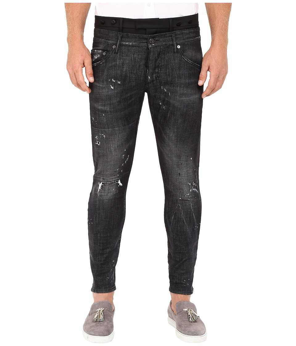 DSQUARED2 - Uniform Outrage Wash Mixed Jeans in Black (Black) Men's Jeans
