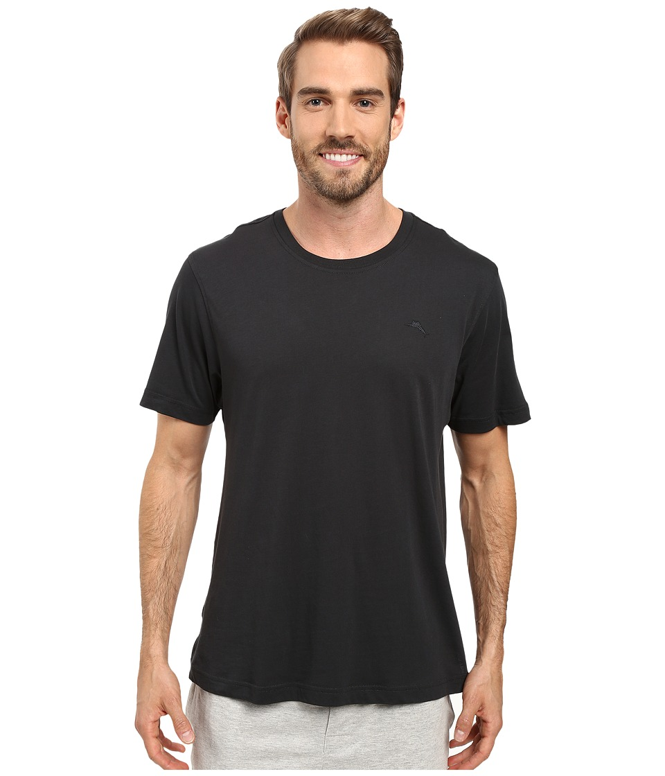 Tommy Bahama Solid Cotton Modal Jersey Basic Short Sleeve T-Shirt (Coal) Men