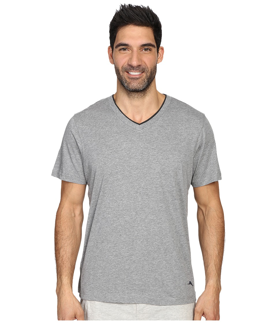 Tommy Bahama - Heather Cotton Modal Jersey Short Sleeve V-Neck Tee (Heather Grey) Men's T Shirt