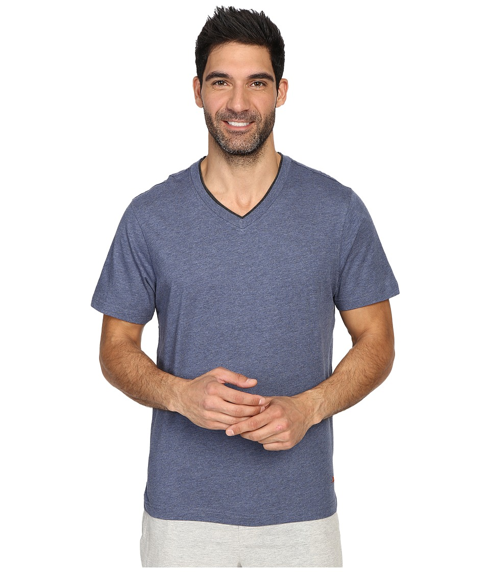Tommy Bahama Heather Cotton Modal Jersey Short Sleeve V-Neck Tee (Navy Heather) Men