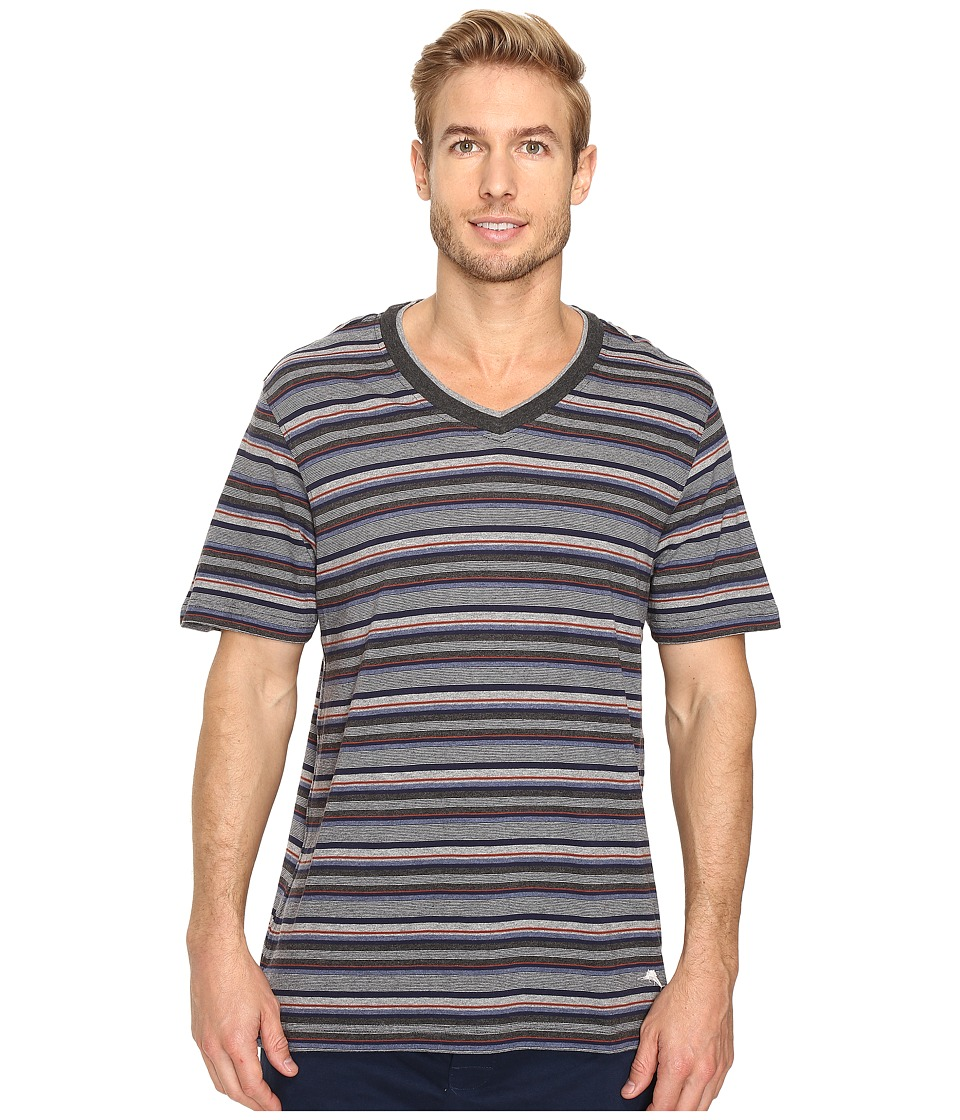Tommy Bahama - Yarn-Dye Cotton Modal Jersey V-Neck Tee (Sail Striped Heather Multi) Men's T Shirt