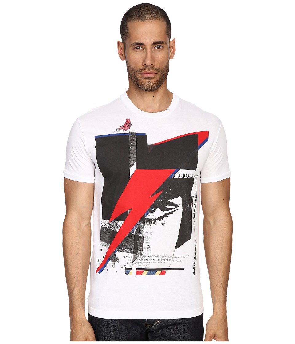 DSQUARED2 - Chic Dan Fit Soft Print Lightening T-Shirt (White) Men's T Shirt