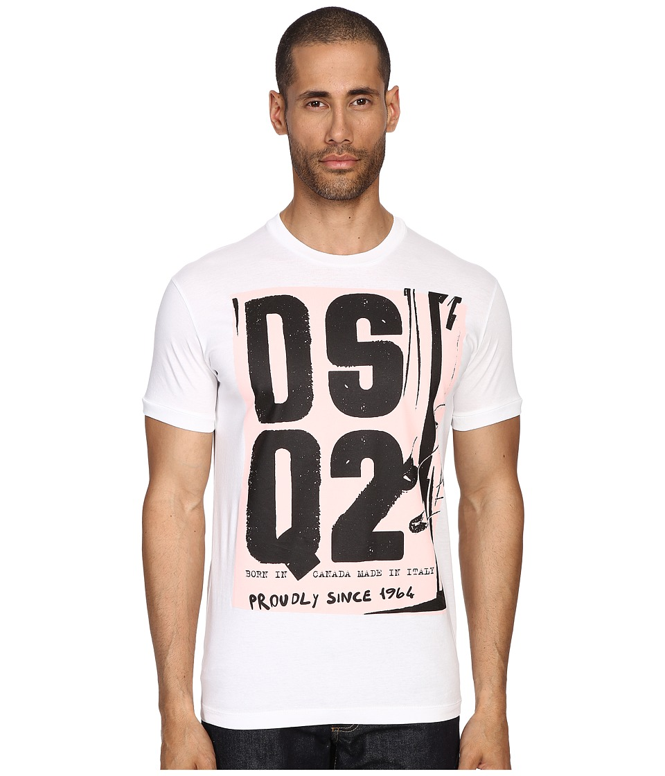 DSQUARED2 - Chic Dan Fit Soft Print Logo T-Shirt (White) Men's T Shirt