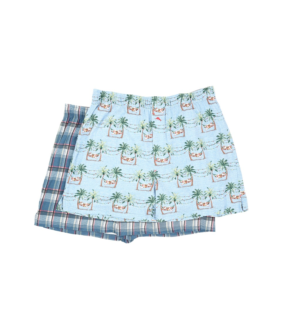 Tommy Bahama - Printed Cotton Modal Jersey 2-Pack Boxer Set (Sleepy Santa/Shore Plaid) Men's Underwear