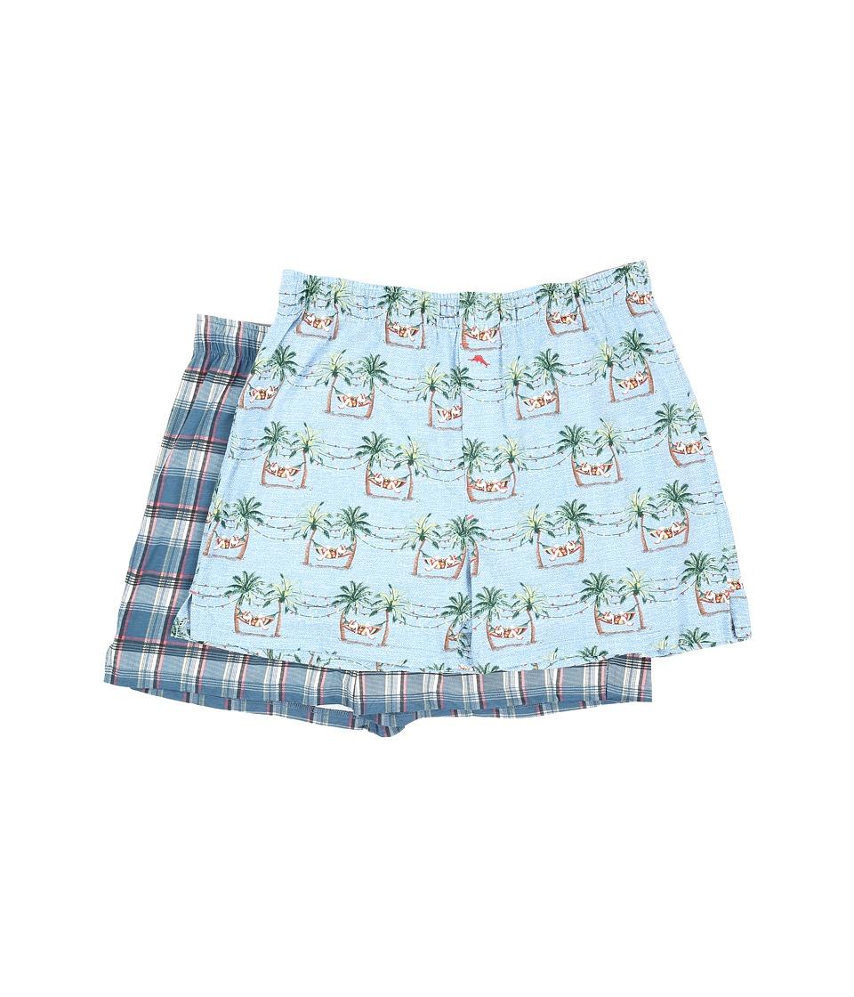 Tommy Bahama - Printed Cotton Modal Jersey 2-Pack Boxer Set (Sleepy Santa/Shore Plaid) Men's Underwear