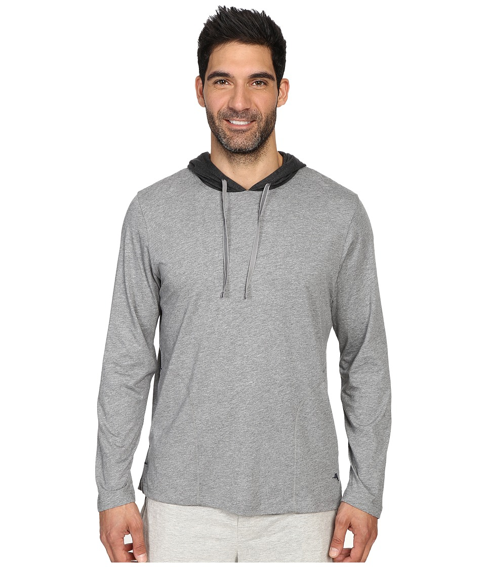Tommy Bahama - Heather Cotton Modal Jersey Long Sleeve Hoodie (Heather Grey) Men's Sweatshirt