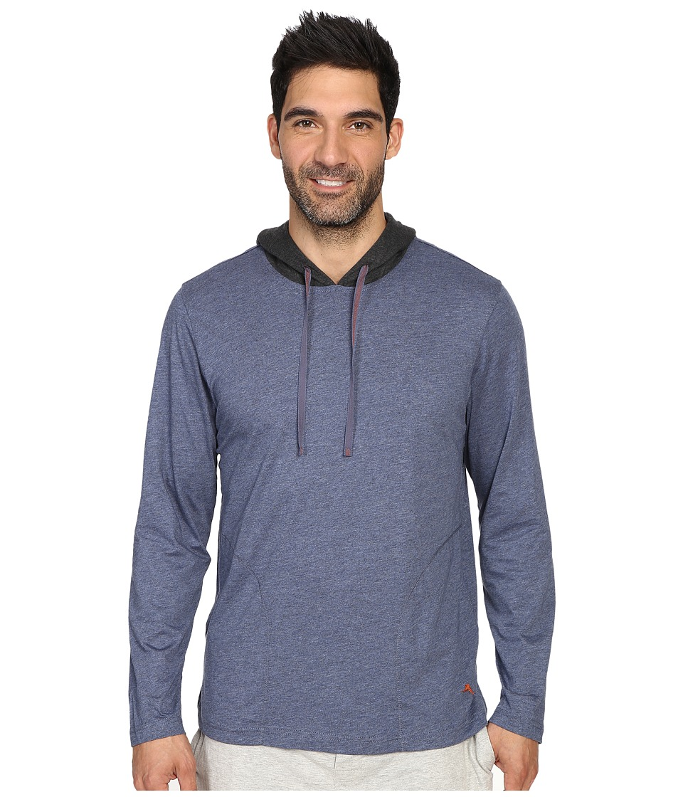 Tommy Bahama - Heather Cotton Modal Jersey Long Sleeve Hoodie (Navy Heather) Men's Sweatshirt