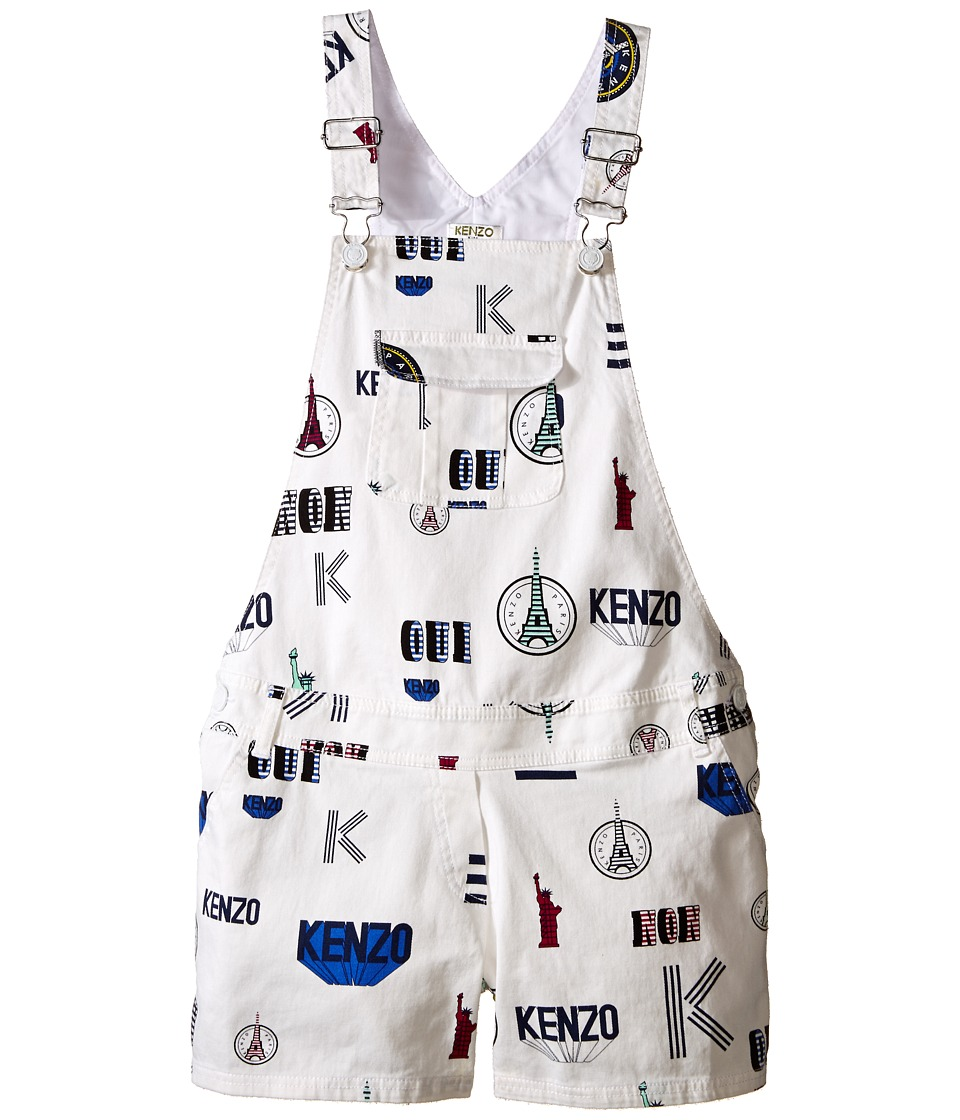 Kenzo Kids - All Over Short Overall (Little Kids/Big Kids) (White) Girl's Overalls One Piece