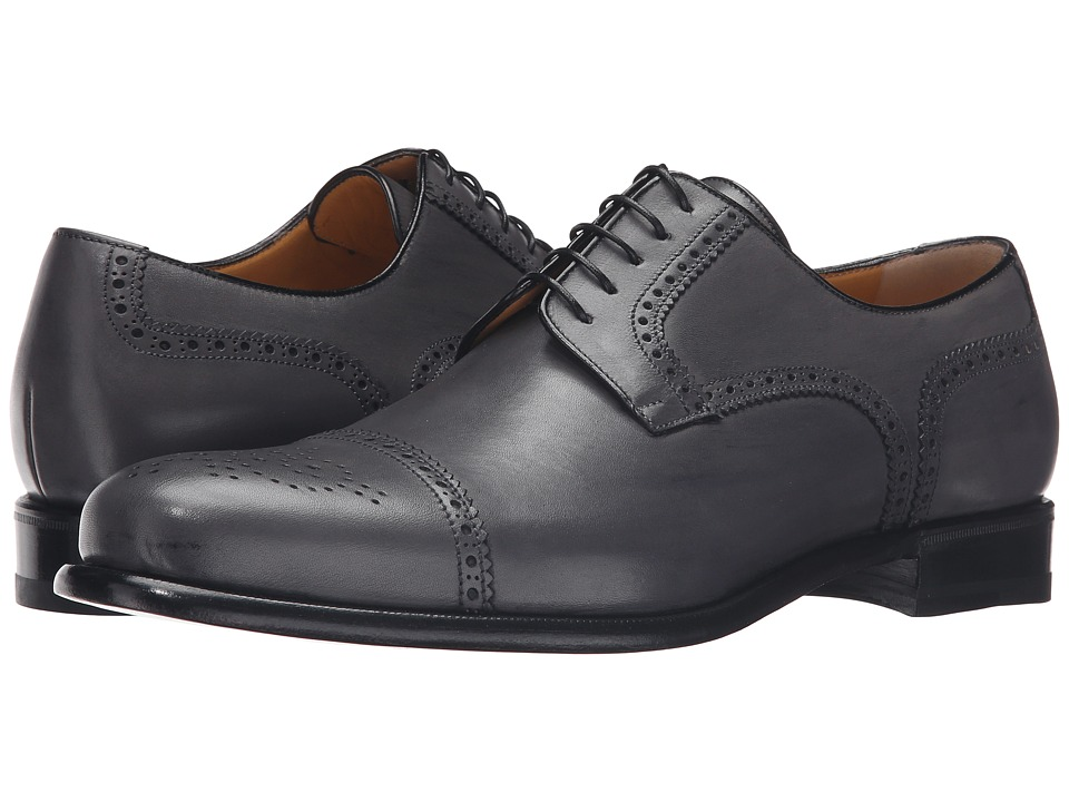 a. testoni - Cap Toe Leather Medallion Oxford (Lead) Men's Shoes