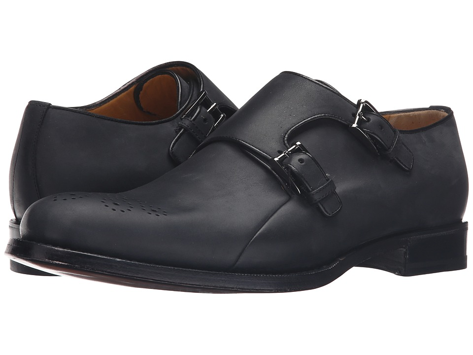 a. testoni - Goodyear Constructed Bolognese Double Monk-Strap (Nero) Men's Shoes