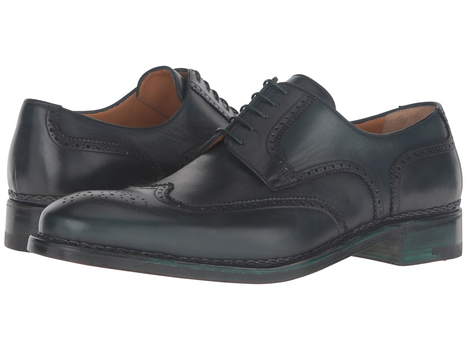 a. testoni - Amedeo Testoni Hand Painted Wing Tip Oxford (Bottle Green) Men's Shoes