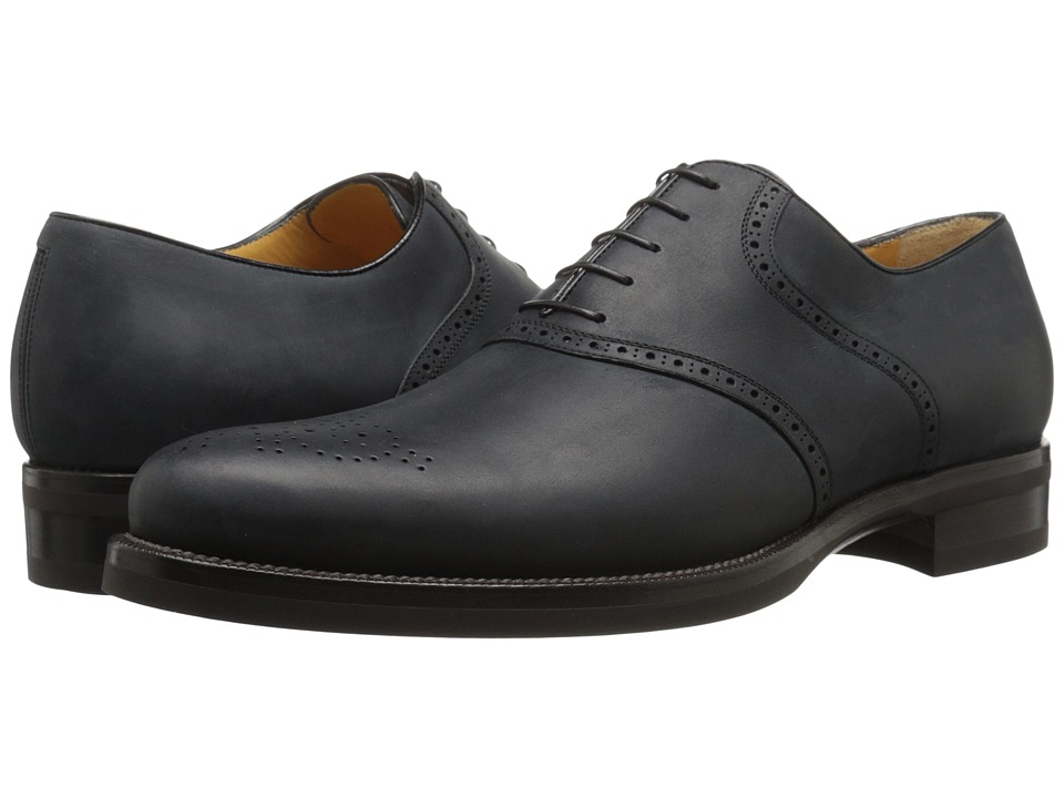 a. testoni - Medallion Toe Derby (Nero) Men's Lace up casual Shoes
