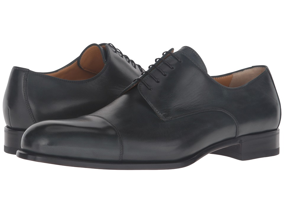 a. testoni - Grainy Shiny Calf Derby (Bottle Green) Men's Shoes