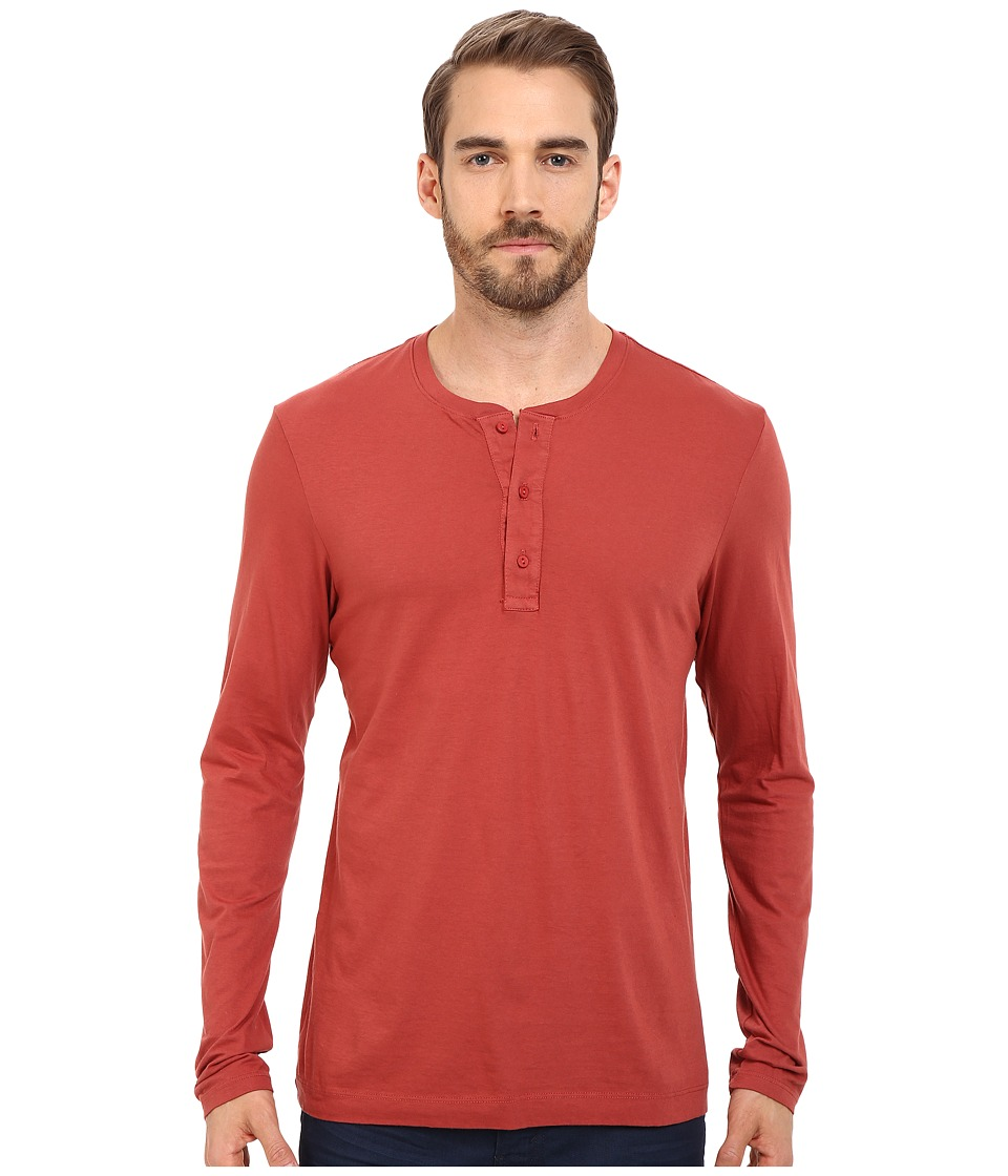 Michael Stars - Long Sleeve Henley (Brick) Men's Clothing