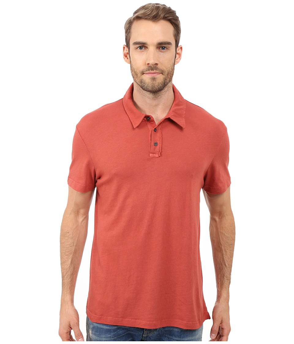 Michael Stars - Short Sleeve Worn in Polo (Brick) Men's Short Sleeve Pullover