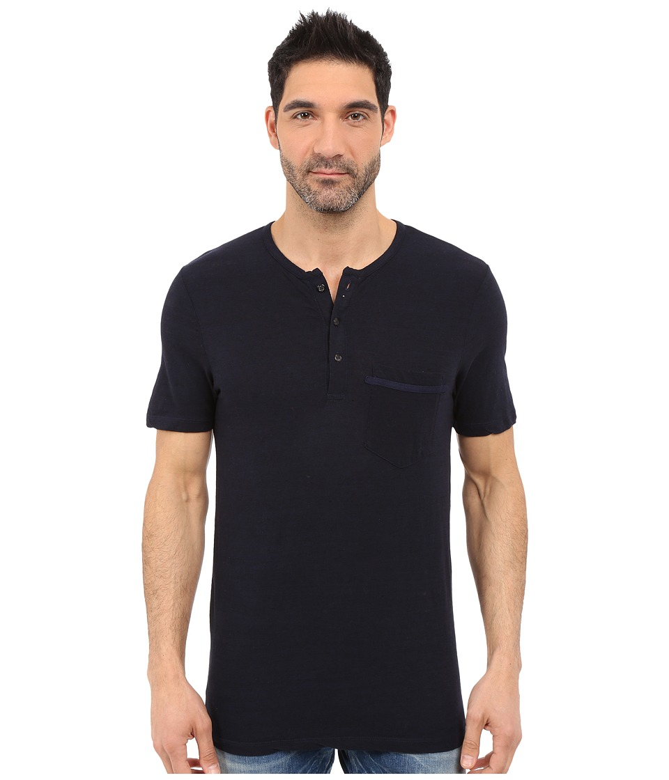 Michael Stars - Short Sleeve Linen Jersey Henley (Nocturnal) Men's Clothing