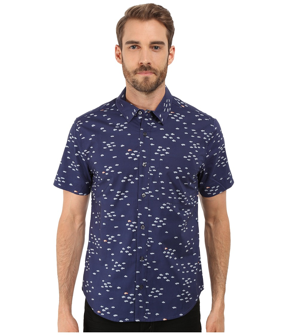 Michael Stars - Short Sleeve Slim Fit Shirt (School of Fish) Men's Short Sleeve Button Up