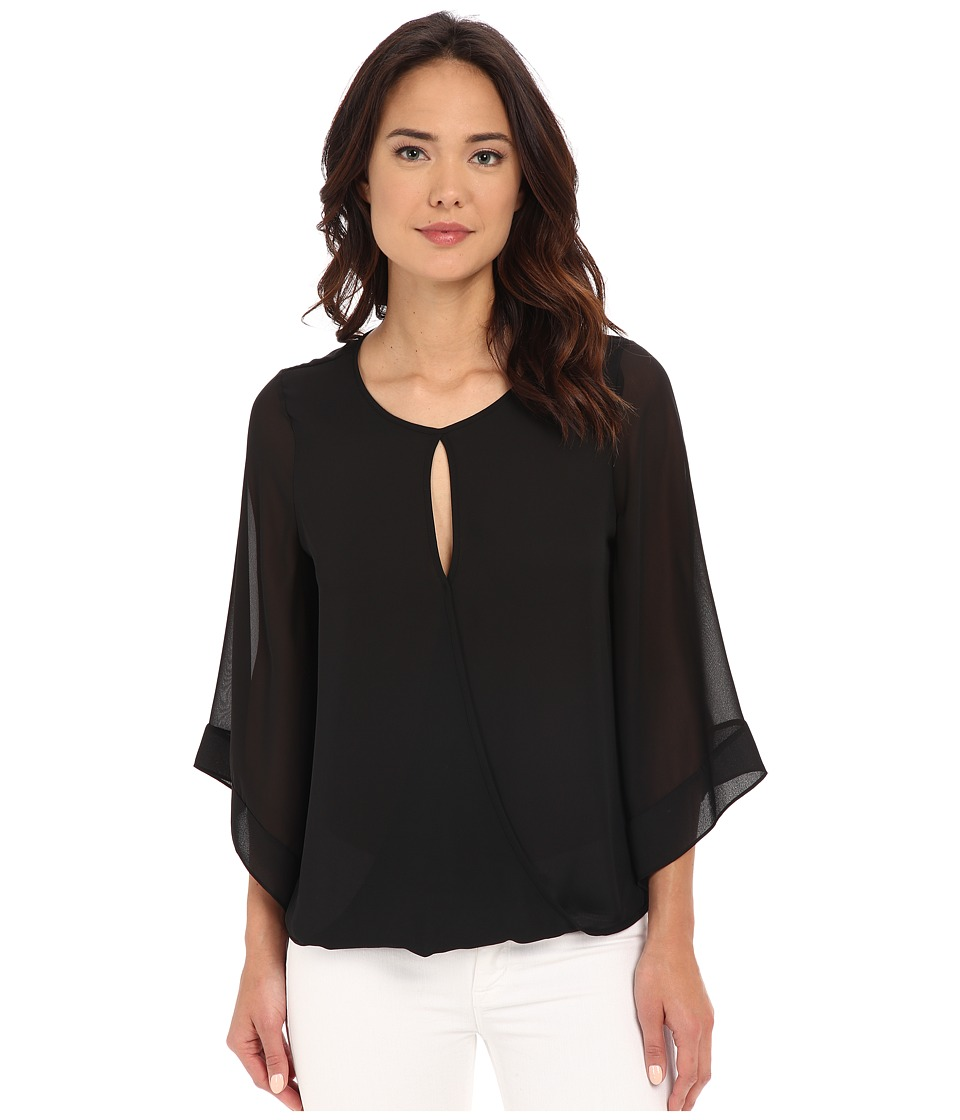Vince Camuto - Wrap Front Kimono Sleeve Blouse (Rich Black) Women's Blouse