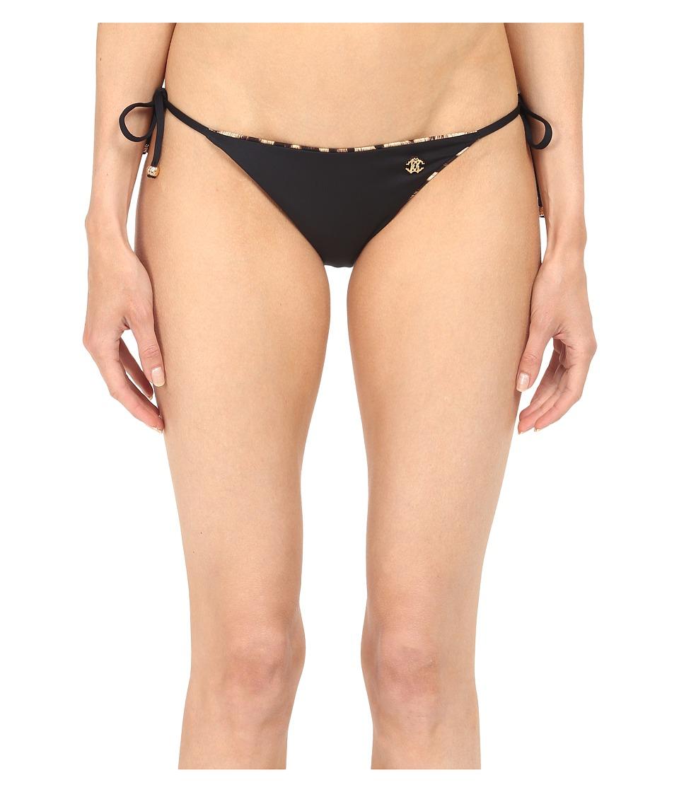 Roberto Cavalli - Reversible Iconic Tanga Bottoms (Nero) Women's Swimwear