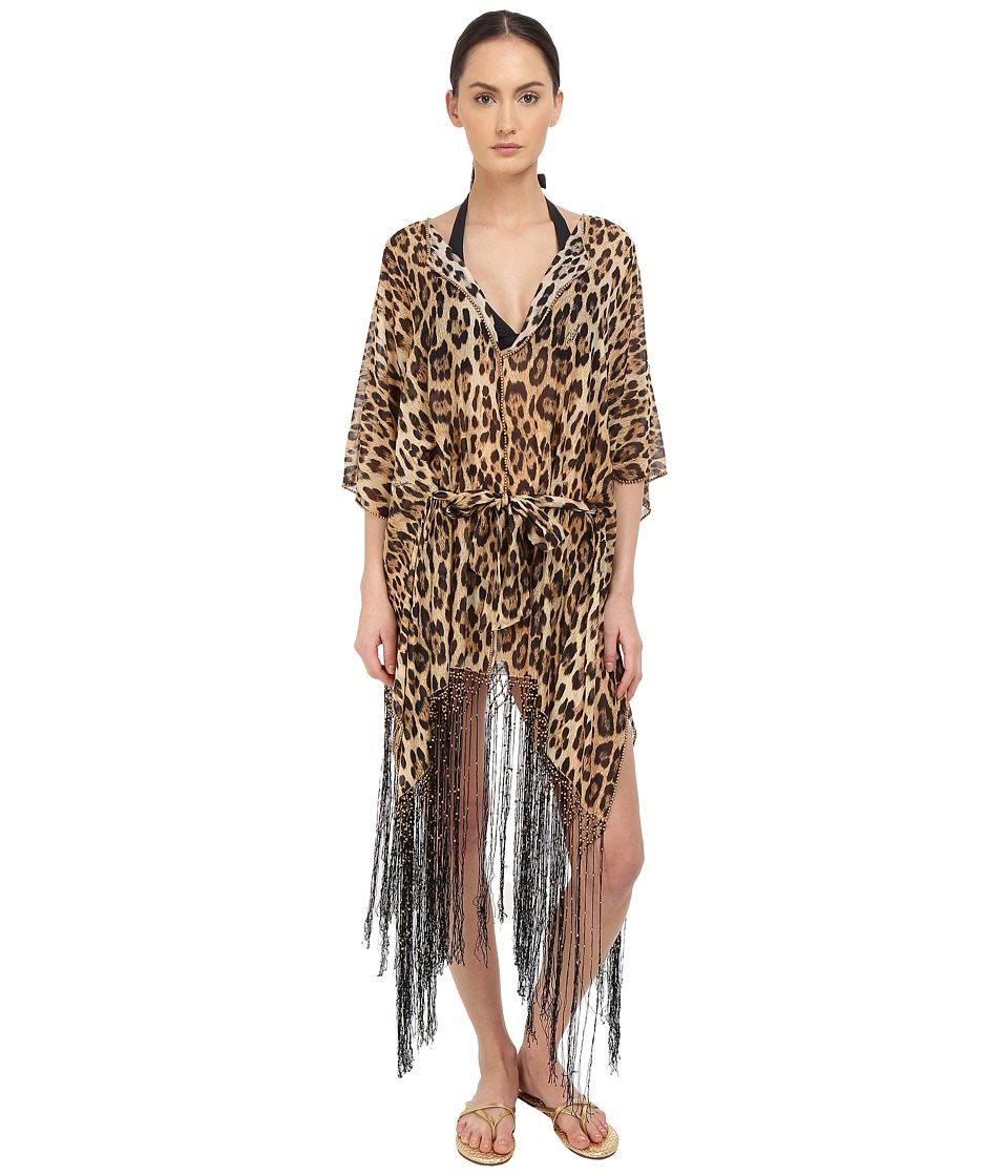 Roberto Cavalli - Iconic Giaguaro Kaftano Corto Cover-Up (Naturale) Women's Swimwear