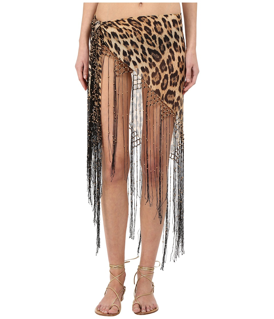 Roberto Cavalli - Iconic Giaguaro Pareo Cover-Up (Naturale) Scarves