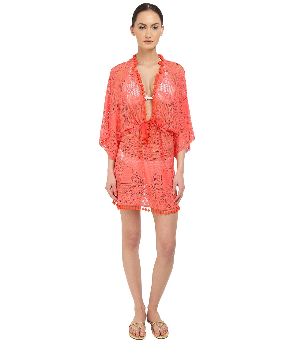 Roberto Cavalli - Solid Lace Kaftano Corto Cover-Up (Blush) Women's Swimwear