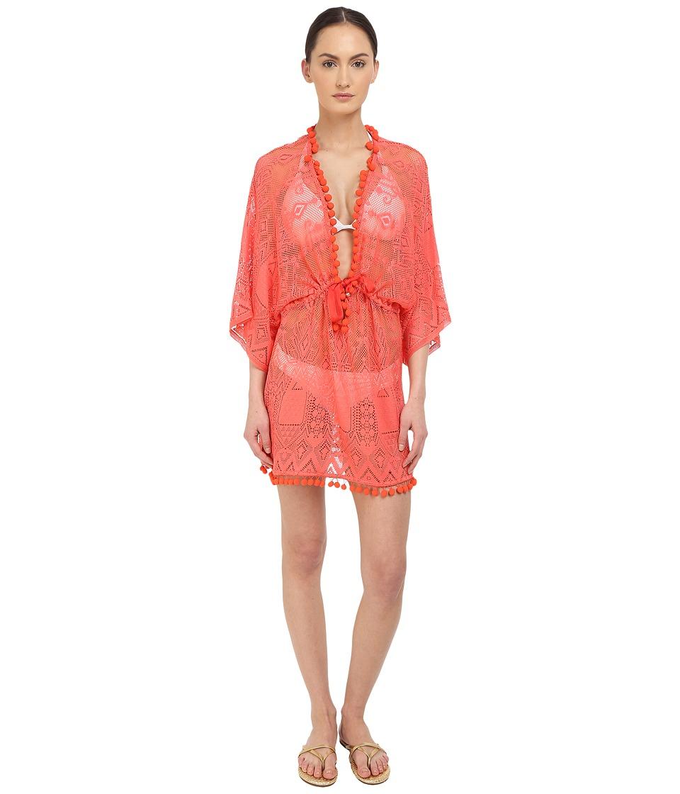 Roberto Cavalli - Solid Lace Kaftano Corto Cover-Up (Blush) Women's Swimwear