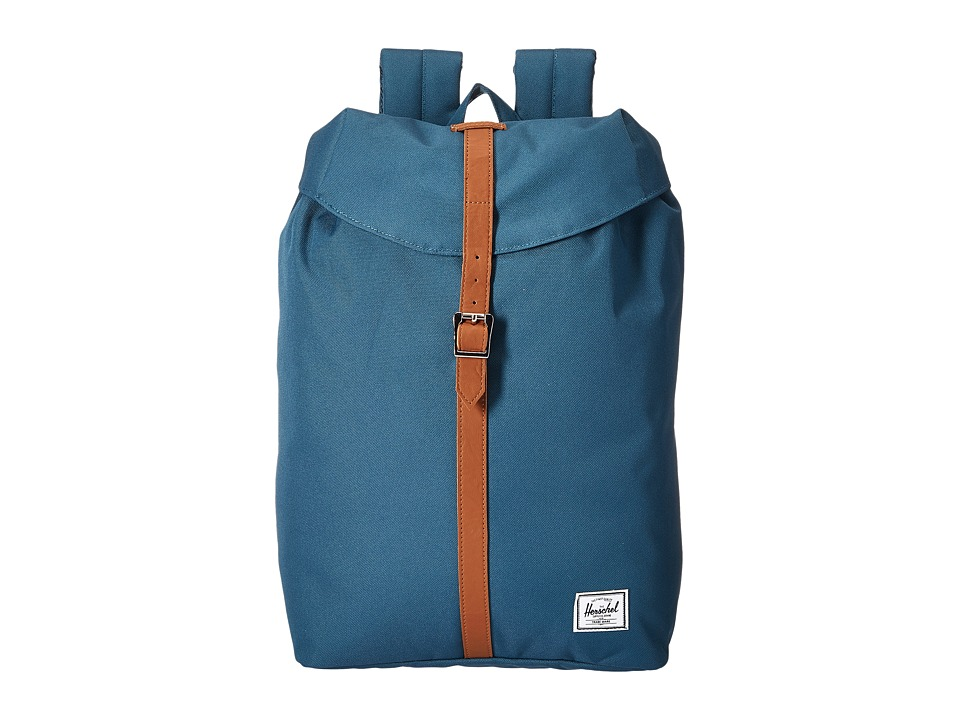 Herschel Supply Co. - Post (Indian Teal/Tan Synthetic Leather) Backpack Bags