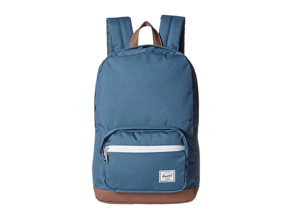 Herschel Supply Co. - Pop Quiz Mid-Volume (Indian Teal/Tan Synthetic Leather) Backpack Bags