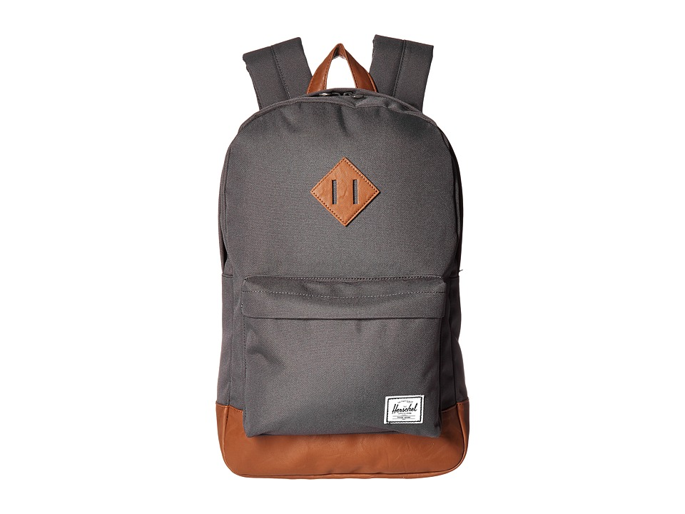 Herschel Supply Co. - Heritage Mid-Volume (Charcoal/Tan Synthetic Leather) Backpack Bags