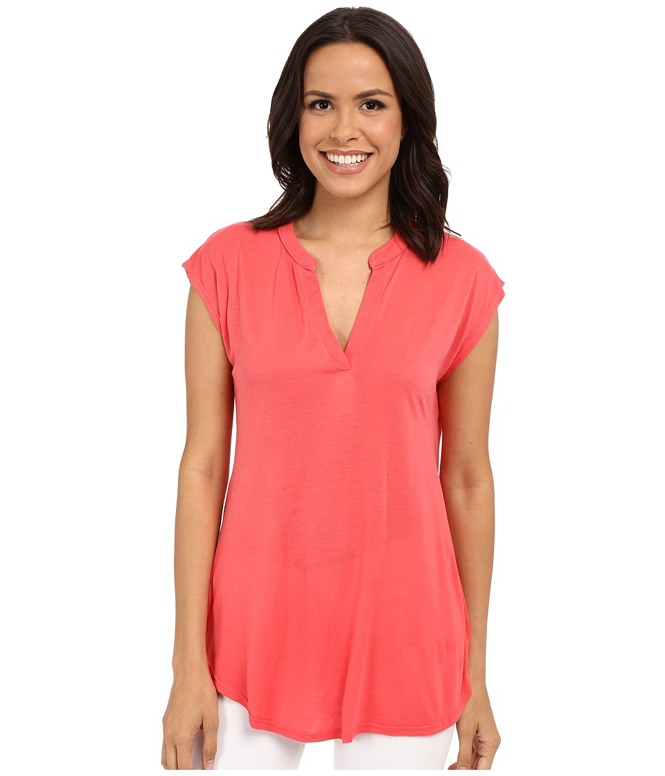 Allen Allen - Sleeveless Split Neck Tee (Begonia) Women's Blouse