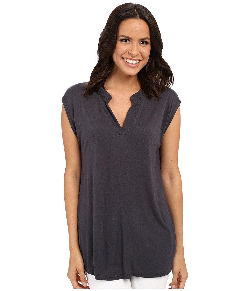 Allen Allen - Sleeveless Split Neck Tee (Jet Grey) Women's Blouse