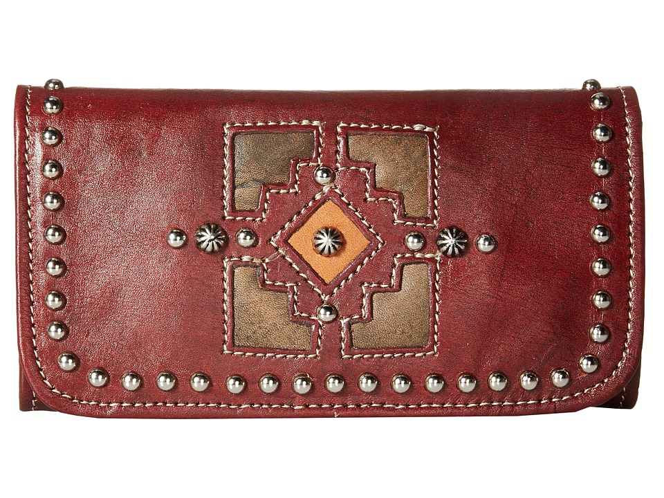 American West - Annie's Secret Collection Tri-Fold Wallet (Distressed Crimson/Distressed Charcoal Brown/Golden Tan) Wallet Handbags